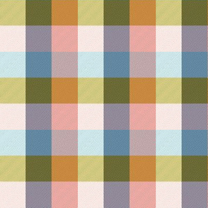 """simple 1""""madras - coral, light blue, bronze and white"""