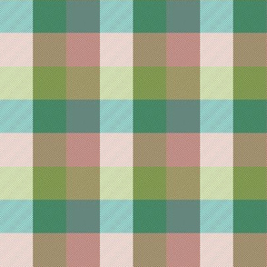 """simple 1""""madras - oolong teal and pink"""