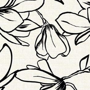 Magnolia Garden - Textured White & Black Large Scale