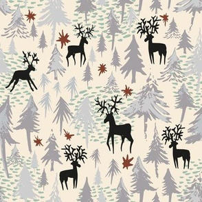 Silver forest, black deer, on cream- small scale
