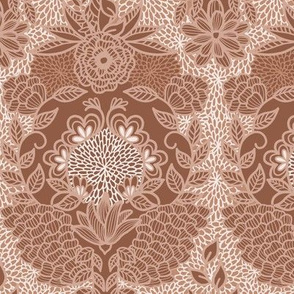 Floral Flourish Damask Sienna Brown by Angel Gerardo - Large Scale