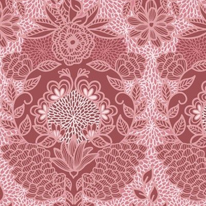 Floral Flourish Damask Pretty Mauve Pinks by Angel Gerardo - Large Scale