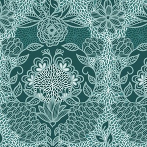 Floral Flourish Damask Pine Emerald Mint Greens by Angel Gerardo - Large Scale