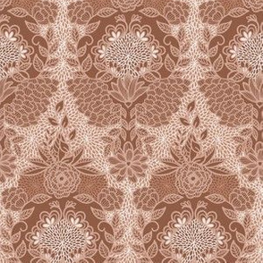 Floral Flourish Damask Sienna Brown by Angel Gerardo