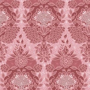 Floral Flourish Damask Pretty Mauve Pinks by Angel Gerardo
