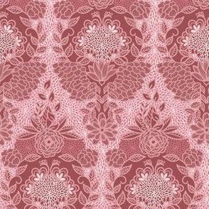 Floral Flourish Damask Pretty Mauve Pinks by Angel Gerardo