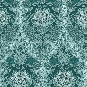 Floral Flourish Damask Pine Emerald Mint Greens by Angel Gerardo