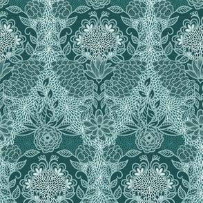 Floral Flourish Damask Pine Emerald Mint Greens by Angel Gerardo