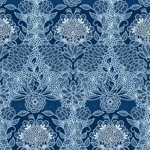 Floral Flourish Damask Cobalt Navy Classic Blue by Angel Gerardo