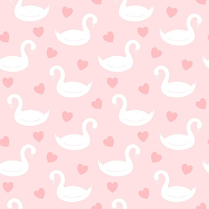 White Swans on Pink