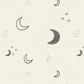 Soft Grey Boho Moons on Cream