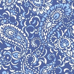 small Paisley Africa - classic blues white