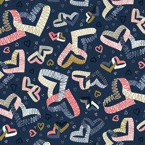 Navy Blue Möbius Strip Hearts Valentine Math / Small Scale