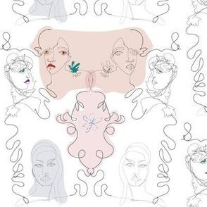 Faces, continuous line drawn