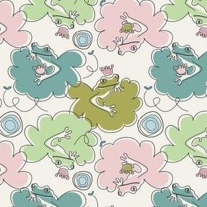 Frog Mauve and Green Contour Drawing 12-22