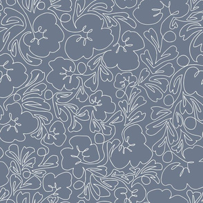 Curly Line Flowers Slate and White