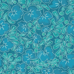 Curly Line Flowers Painted Turquoise