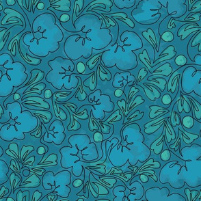 Curly Line Flowers Painted Turquoise2