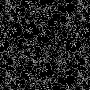 Curly Line Flowers Black and White