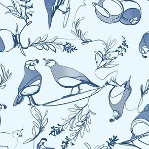 conintuous line quail in blues