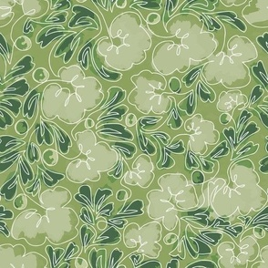 Curly Line Flowers Painted Green
