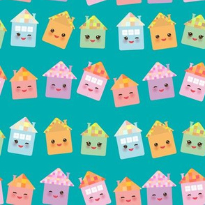 Funny happy house, kawaii face