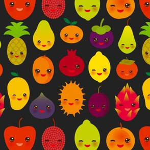 cute kawaii fruit Pear Mangosteen tangerine pineapple papaya persimmon pomegranate lime apricot plum dragon fruit figs mango peach lemon lychee apple kiwano black background