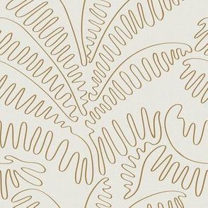 Golden Palm Leaves - Continuous Line Contour / Small