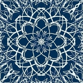 Net Lace Flowers of Ice Blue on Midnight Blue