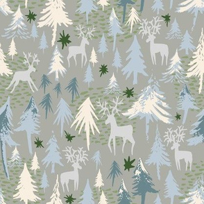 silver forest and deer on grey - small scale