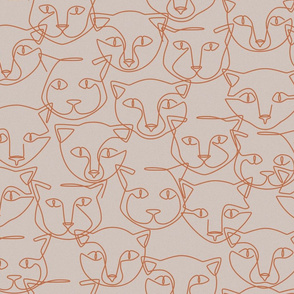 continuous line cats - grey + sienna