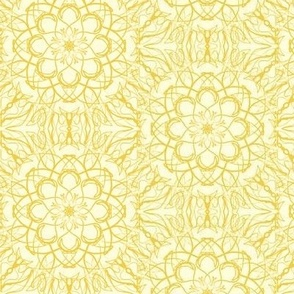 Net Lace Flowers of Pale Gold on Magnolia Cream