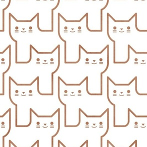 Continuous Line Cats- Geometric Minimalist Cat- Sienna on White - Home Decor