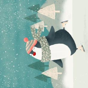 Christmas Skate Tea Towel