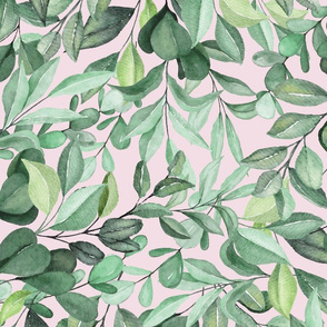 Large Watercolor Leaves on Pink