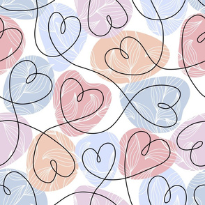 Continuous line hearts