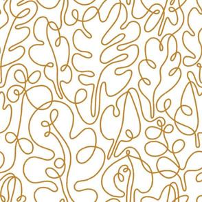 Golden autumn outline leaves pattern