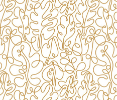 Golden autumn outline leaves pattern