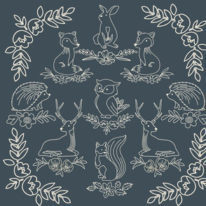 Woodland Animals Damask Pattern