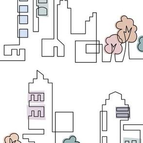 Continuous Line Cityscape-White