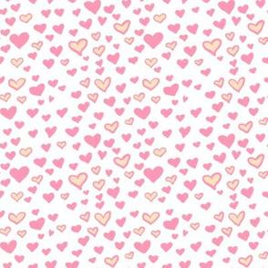 Pink Hearts White & Cream