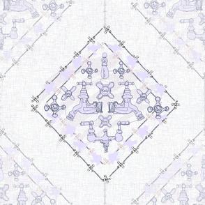 Those Subtle Faucets -- Contour Line Victorian Bathroom Sink Plumbing in a monochromatic lilac diamond wallpaper pattern