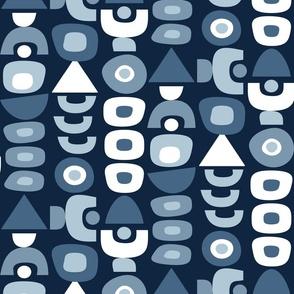 Mid Century Modern Retro Shapes // Navy Blue, Denim Blue, White