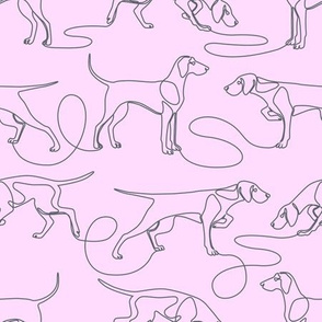 Continuous Line Weimaraners (Lilac Background) – Medium Scale