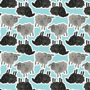 Black Sheep Watercolor on Blue
