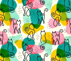 Continuous Line Art Cats