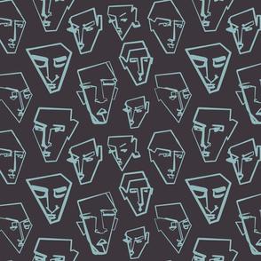continuous line - graphic faces