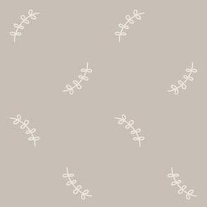 Simple Boho Leaves On Grey Beige