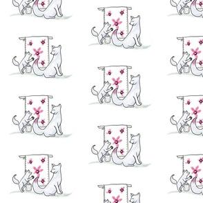 Arctic Fox Family Design Fabric