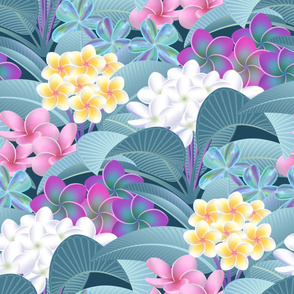Tropical Hawaiian Plumeria Plants and Flowers // Pink, Purple, Seafoam Blue, Yellow, White